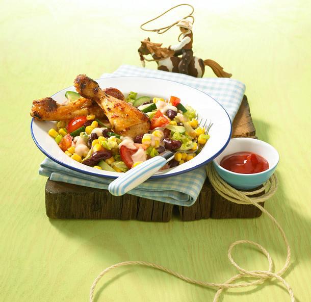 Western-Salat mit Hähnchenkeulen Rezept