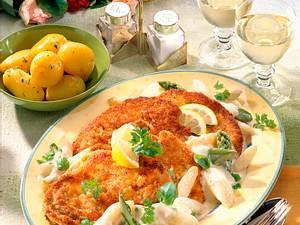 Wiener Schnitzel mit Spargelragout Rezept
