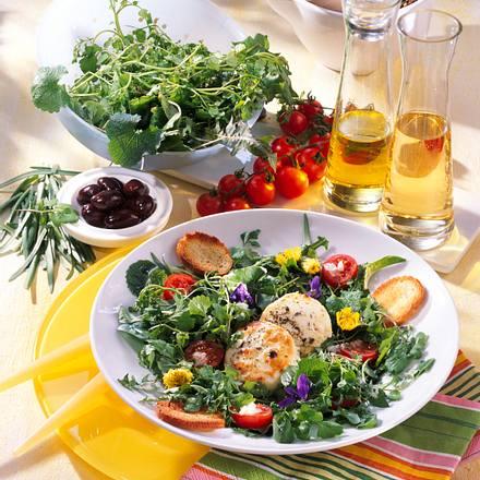 Wildkräuter-Salat mit Käsetalern Rezept