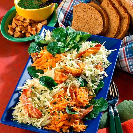 Winterlicher Salat mit Möhren und Weißkohl Rezept
