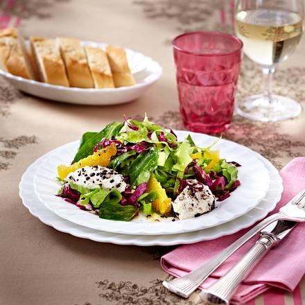 Wintersalat mit Frischkäsenockerln und Orangen-Vinaigrette Rezept
