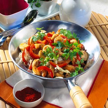 Wok-Gemüse mit Schnitzelfleisch Rezept