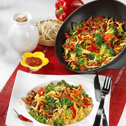 Wok-Gemüse mit Steakstreifen Rezept