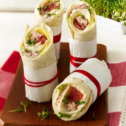Wraps mit Thunfisch, Grapefruit, Emmentaler, Fenchel und Kresse Rezept