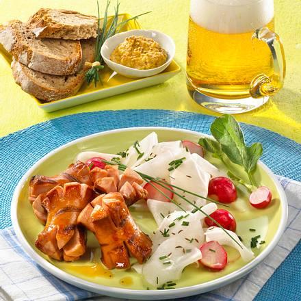 Würstchen-Kronen mit Rettichsalat Rezept