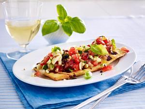 Würzige Bruschetta mit Balsamico Creme, Tomaten und Zucchini Rezept