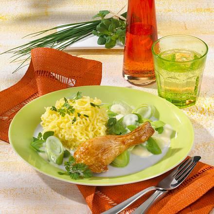Würzige Hähnchenkeulen mit Kräuter-Kartoffelschnee Rezept