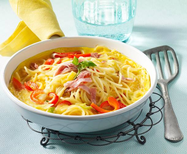Würziges Spaghetti-Omelett Rezept
