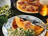 Wurst-Pfannkuchen mit dicken Bohnen Rezept
