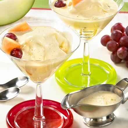 Zabaione mit Melonen und Trauben Rezept