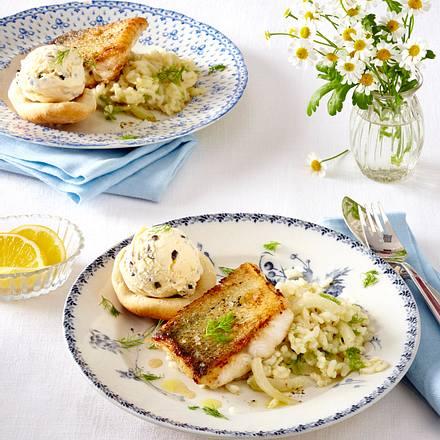 Zander auf Fenchel-Risotto mit Oliveneis Rezept
