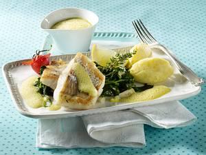 Zanderfilet auf Spinatbett mit Meerrettich-Kartoffelpüree Rezept