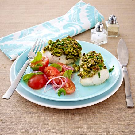 Zanderfilet in Pistazien-Senfhülle mit Tomatensalat Rezept