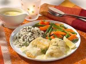 Zanderfilet mit Bohnen-Möhrengemüse und Reis Rezept