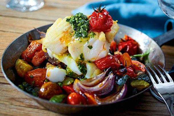 Zarter Gabeldorsch auf Easy-Peasy-Ofengemüse Rezept