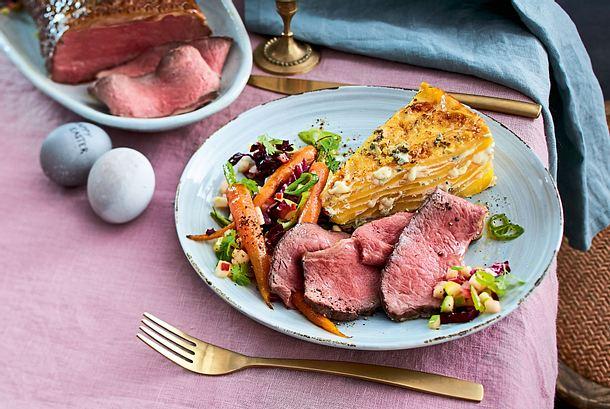 Zartes Roastbeef zu Kartoffel-Käse-Kuchen Rezept