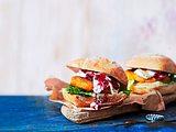 Ziegenkäse-Burger mit Süßkartoffel-Patty Rezept