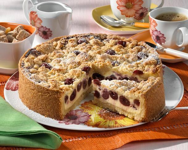 Zimt-Streuselkuchen mit Quark-Kirsch-Creme Rezept