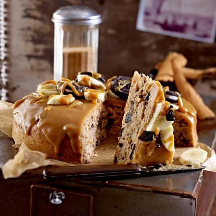 Zimtiges Oreo-Bananen-Brot mit Erdnussbutter-Topping Rezept