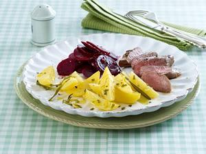 Zitronen-Kartoffeln aus dem Ofen mit Lammlachs Rezept