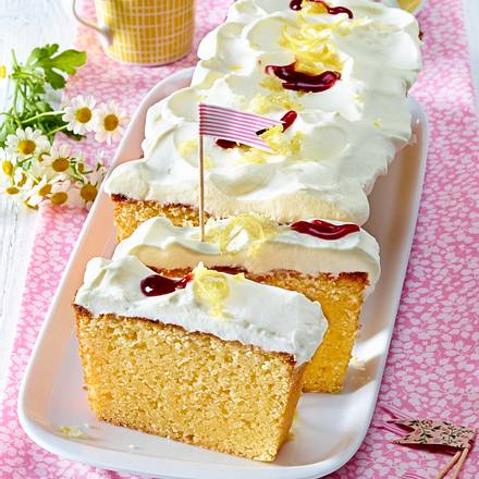 Zitronen-Kastenkuchen mit Himbeergelee Rezept