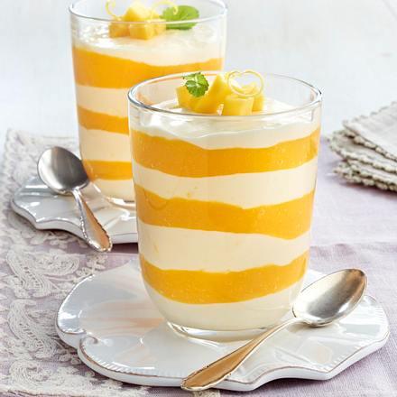 Zitronencreme mit Mangopüree Rezept