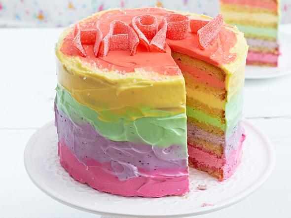 Zitronenkuchen mit Regenbogenfrosting Rezept