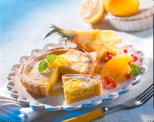 Zitronentarteletts mit exotischem Obstsalat Rezept