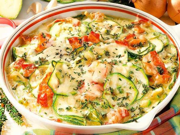 Zucchini-Käse-Pfanne mit Bacon Rezept