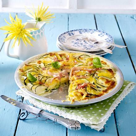 Zucchini-Kartoffel-Gratin mit Schinken Rezept