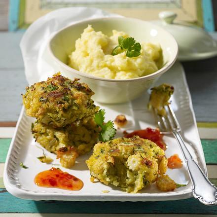 Zucchini-Mais-Küchlein zu Kartoffelpüree Rezept