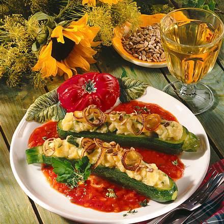 Zucchini mit Käse-Kartoffelpüree Rezept