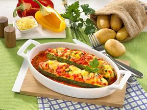 Zucchini mit Kartoffelpüree-Füllung Rezept