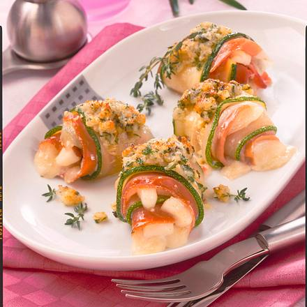 Zucchini-Parmaschinken-Röllchen Rezept