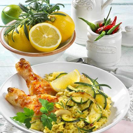 Zucchini-Risotto mit Hähnchenkeulen Rezept