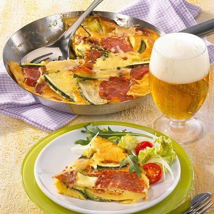 Zucchini-Salami-Pfannkuchen Rezept