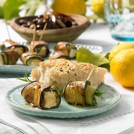 Zucchini- & Auberginenröllchen mit Feta Rezept
