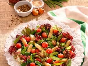 Zuckerschotensalat mit Spargel und Melone Rezept
