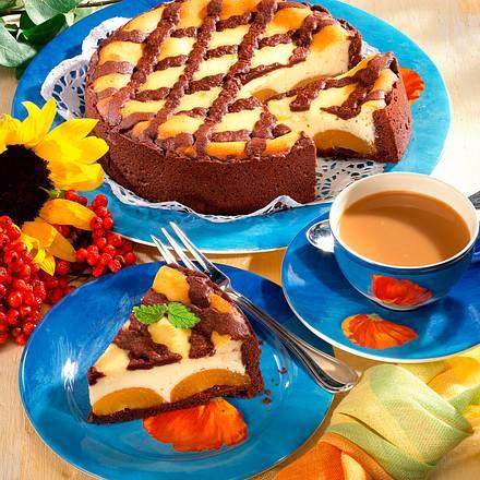 Zupfkuchen mit Aprikosen und Schokogitter Rezept