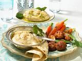 Zweierlei Bohnenpüree (Typ arabische Vorspeisenplatte) Rezept
