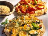 Zweierlei Hirsepizza mit Kräuter-Frischkäse, Zucchini und Tomaten Rezept
