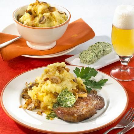 Zwiebel-Pilz-Püree zu Rumpsteak Rezept