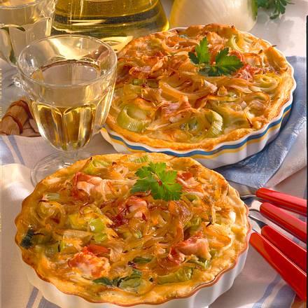 Zwiebelkuchen-Quiche mit Hefeteig Rezept